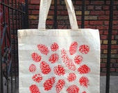 Pinecone tote- neon pink on canvas