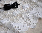 "Milk Silk White Lace Fabric Flower Embroidery Floral Lace Wedding Lace Fabric 51.2"" Width 1 yard"