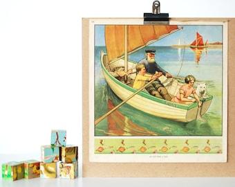 Sail Boat Print Childrens Poster Vintage Nursery - 1930's - Baby Kids Childrens Room Playroom Play Room Wall Prints