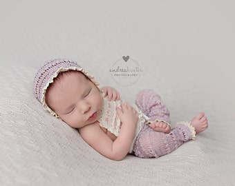 NEWBORN BABY ROMPER: dusty lilac sweater knit romper, ivory lace, knit bonnet, baby romper, lavender, newborn photography photography prop