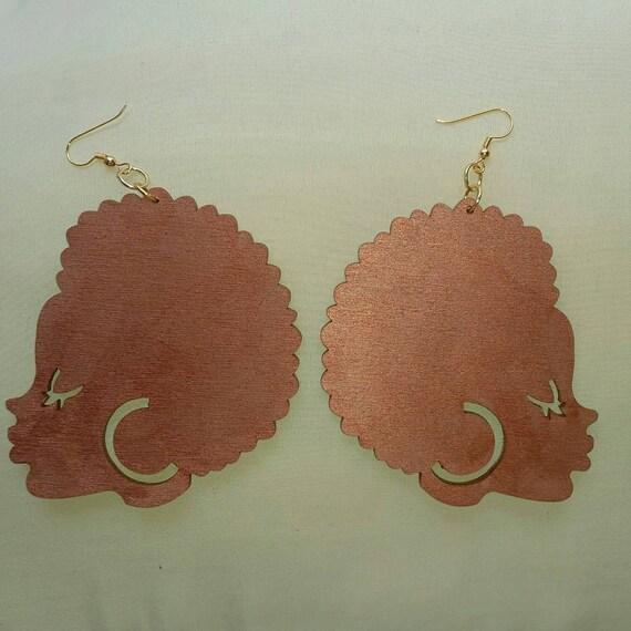 Silhouette Earrings: Afro Silhouette Wood Earrings By JewelsByLisaLucy On Etsy