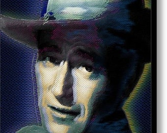 Young John Wayne Pop 1 on Stretched Canvas