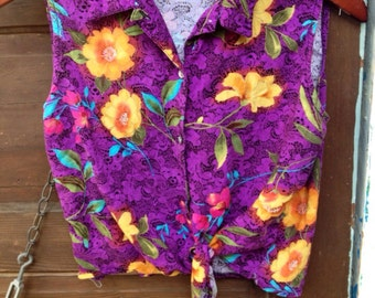 Vintage 80's Sleeveless Rayon Purple Floral Button Down Tie Waist Crop Top by Notations