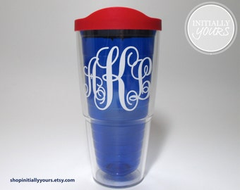 Personalized Monogram Tervis Tumbler 24oz Royal Blue, Merica, USA, Red, White & Blue