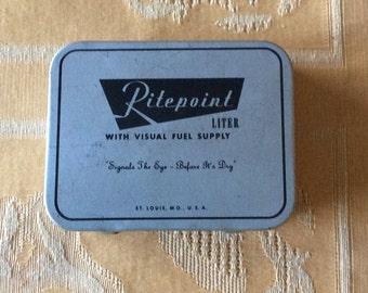 Vintage Ritepoint Lighter Metal Advertising Case