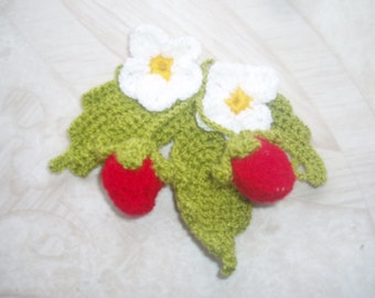 Martisor- crochet strawberry- flower crochet-home decor