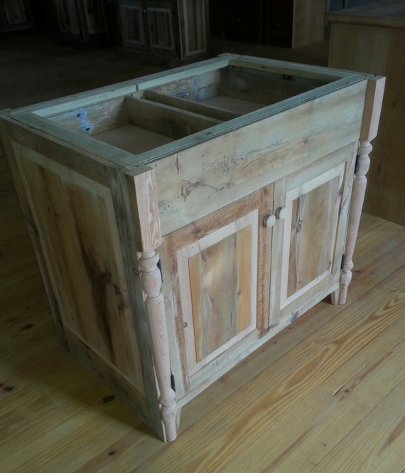 Reclaimed Wood Kitchen Cabinets: Items Similar To Reclaimed Barn Wood Kitchen Island With