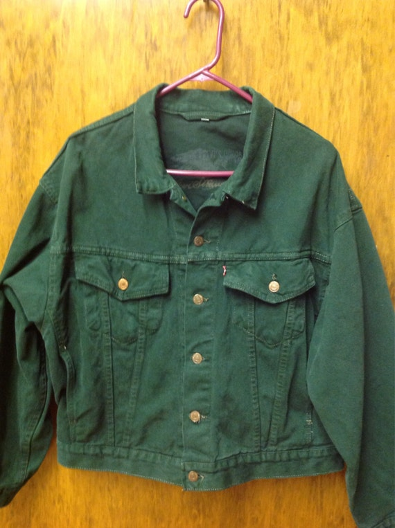 Dark Green Denim Jacket - JacketIn