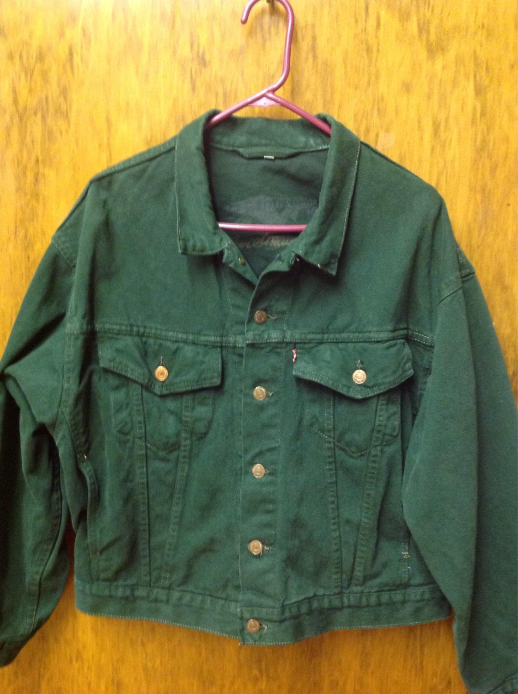 Vintage dark green levis denim jacket/ levis green trucker