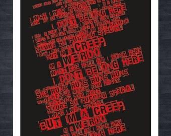RADIOHEAD - Creep - Lyrics A3 print