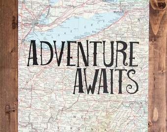 """Ohio and West Virginia Map Print, Adventure Awaits, Great Travel Gift, 8"""" x 10"""" Letterpress Print"""