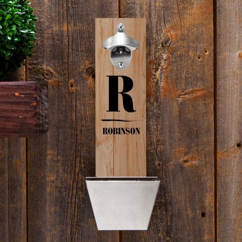 wood bottle opener wall mounted bottle opener groomsmen. Black Bedroom Furniture Sets. Home Design Ideas