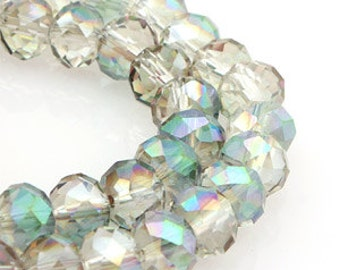8mm Crystal Vitrail Medium Crystal glass Rondelle  Faceted Beads - about 32pcs (C8041- FikaSupplies)