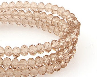 3mm Light Smoked Topaz Transparent Crystal glass Rondelle Faceted Beads -  about 70pcs (C3037- FikaSupplies)
