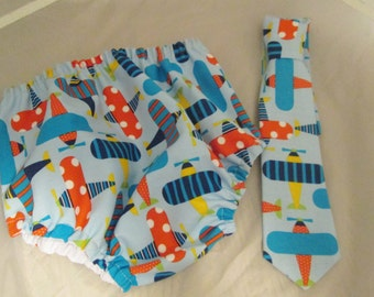 Baby Boy/ Toddler Airplane Cake Smash Outfit  for First Birthday.  Includes:  Diaper Cover and Tie.