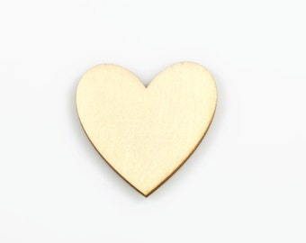 HEART WOOD CUTOUT (Set of 5) -  Heart Laser Cut Natural Wood Cutout (5cm)