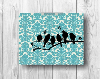 bUY 2GET 1 FREE Blue Damask Vintage Birds Printable Art 8x10 Instant Download Wall Cabin Home Rustic Decor Poster Print
