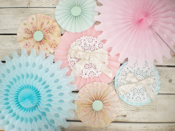 shabby chic floral tissue paper fans