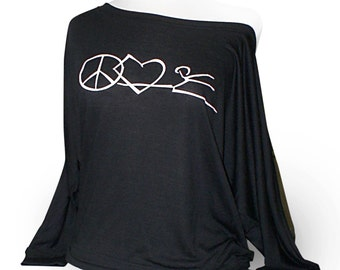 "Flowy Long Sleeve Dance Shirt ""Peace, Love, Dance"" - Black.  A flowy dance top worn on or off the shoulder. Ballet, jazz, or tap."