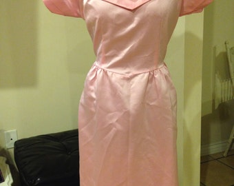 Vintage 1950's Pink Princess Sweet Rockabilly Pin Up Dress