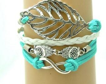 Turquoise Leather Infinity bracelet, Handmade Bird Leaf Bracelet ,Friendship Punk Leather Bracelet