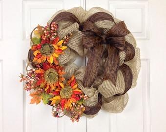 Sunflower Burlap Mesh Wreath