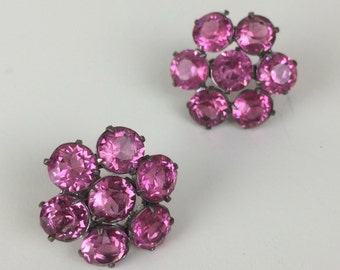 pink faceted glass rhinestone button screw back earrings 40's