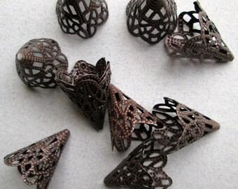 10 Large Antique Copper Bead Caps