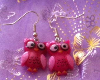 Pink Owl Earrings - Pink Owl Charm - Owl Earrings - Pink Owl Jewelry - Owl Jewelry - Pink Owls