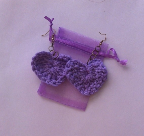 Purple Crochet Heart Earrings - Crochet Hearts