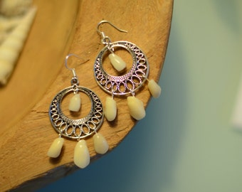 Pearly Whites: elegant human tooth earrings, silverplated, jugendstil
