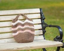 Brown Crochet Bag, Crochet Market Bag, Crocheted Book Bag, Brown Tote, Gifts Under 40.00, Gift For Teen, Gift for Mom,