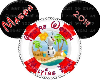 MAGNET Life Preserver Olaf at the Beach Ears! - Mouse Ears Stateroom Door Magnet