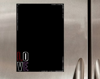 Black Chalkboard Magnet love size A3