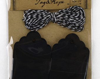 Set of 20 Chalkboard paper Tags with 5 yard black/white bakers twine.Great for gifts, favors, rustic primitive decorations.(CBT7691C)