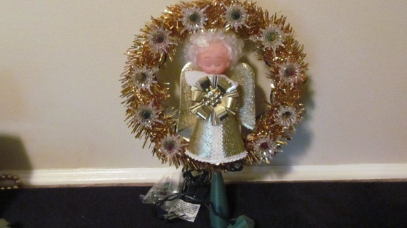 Vtg Lighted Christmas Tree Topper Angel Multi Color Boxed