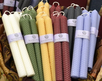 """Beeswax Tapers: 8"""" hand rolled honeycomb pairs"""