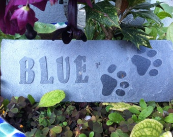 Hand carved pet memorial plaque, the perfect way to remember your loved one. Personalized, handmade, slate