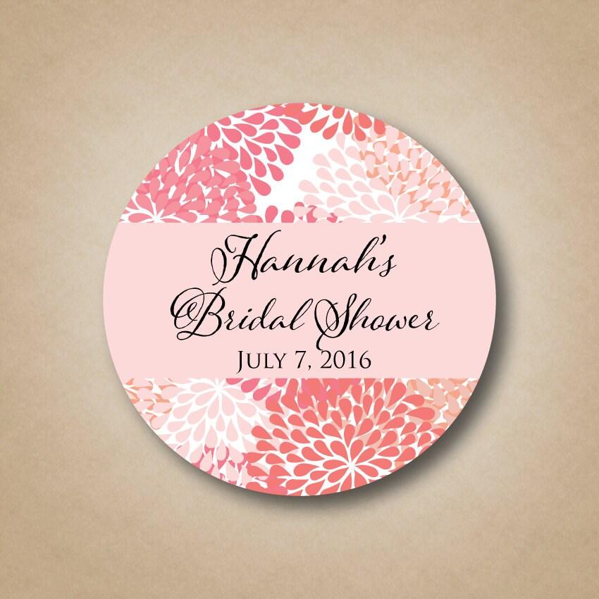 Personalized Bridal Shower Favor Labels Flowers Mum Design
