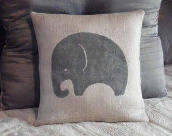 Custom made rustic country natural burlap pewter gray elephant  pillow cover/sham. Multiple sizes to choose.