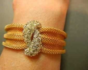 Vintage Boucher Mesh Gold Rhinestone Bracelet