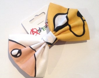 Upcycled Adventure Time Finn Jake fabric hair bow by AsBeAu