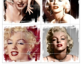 MARILYN MONROE - 4x4 inch tiles - 5 Digital Collage Sheets CG-822 for Scrapbooking Coasters Stickers - Instant Download