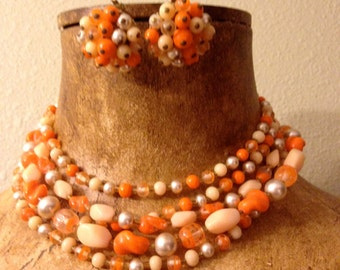 Pretty 1960s 5-Strand Beaded Necklace and Matching Clip Earrings – in Oranges and Peach