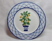 Vintage Jay Willfred Andrea by Sadek Lemon Tree Blue Trim Pottery Dish Plate
