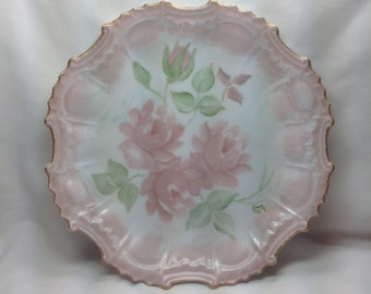 Vintage Pink Rose Scalloped Gold Trim Painted Signed Amy '73 Porcelain Dish Plate