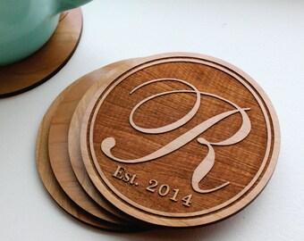 Personalized Monogram Coaster Set of 4, Custom Engraved Cherry Wood Coasters, Monogrammed Gifts, Family Established Date, Wedding Favor