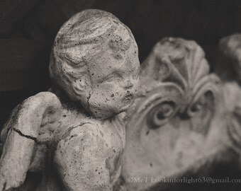 Angel Photo, Black White Angel Art, Vintage Cupid, Angel Sculpture, Garden Art, Dreamy Angel Art, Angel Wings, Garden Sculpture, Cupid Photo