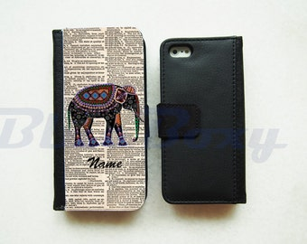 Elephant on Dictionary Wallet Case for iPhone 7, iPhone 6, iPhone 6s, iPhone 6 Plus, iPhone 5, iPhone 5s, iPhone 4/4s, Leather Flip Case