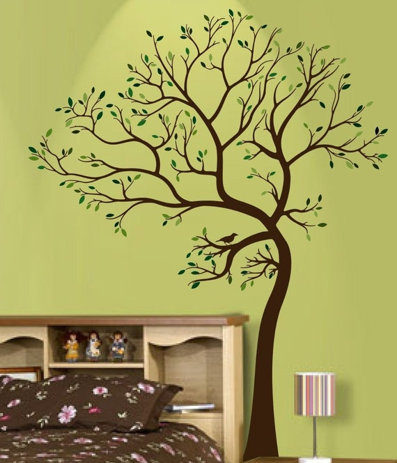 Big tree with bird wall decal deco art sticker mural for Big tree with bird wall decal deco art sticker mural